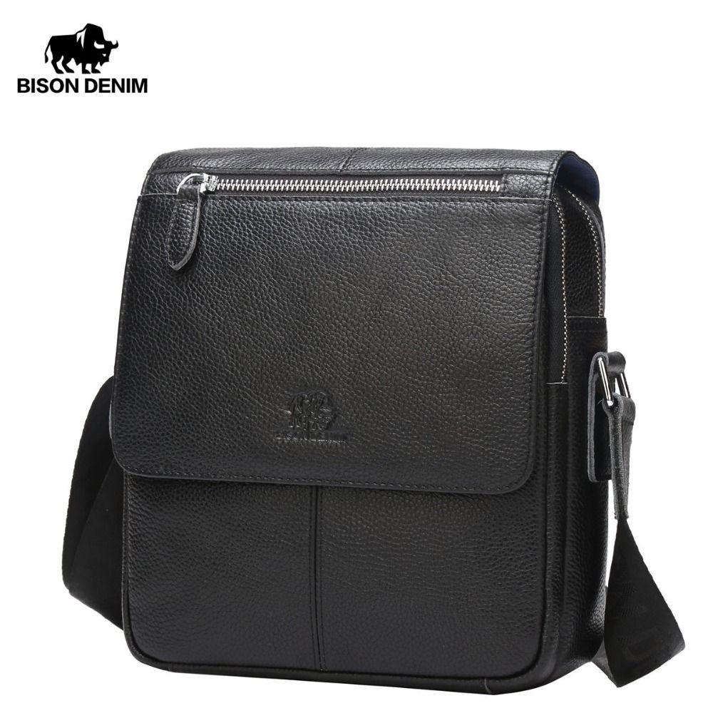 BISON DENIM Men bags 100% Genuine Leather Bag Men Classic Black Business CrossBody Bag Designer Cow Leather bags N2532