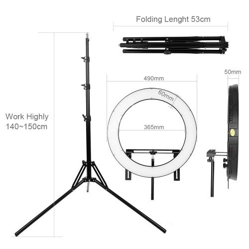 FALCON EYES 512 Ring LED Panel 31W 3000-5600k Lighting Video Film Continuous Light with 180cm Light Stand DVR-512DVC Black CD50