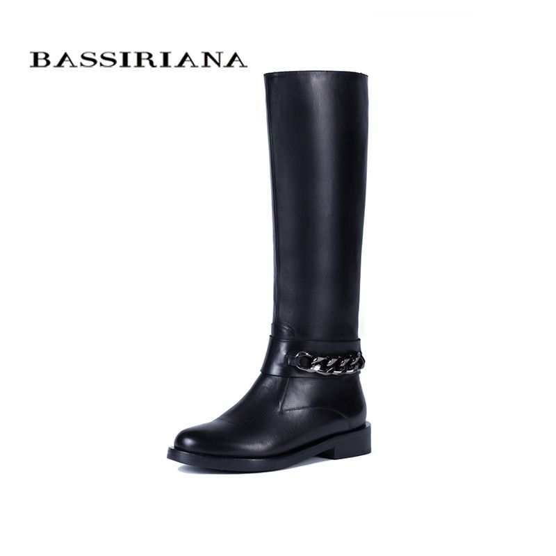 BASSIRIANA New 2017 classic genuine leather winter high boots shoes woman suede zip round toe wool with chain black 36-40 size