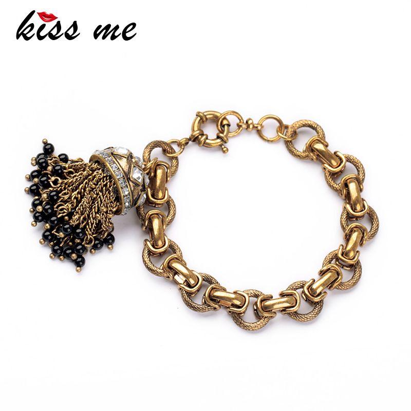 Embrasse moi usine 2017 couleur or Antique gland Bracelet bijoux mode bracelets porte-bonheur bracelets pour les femmes