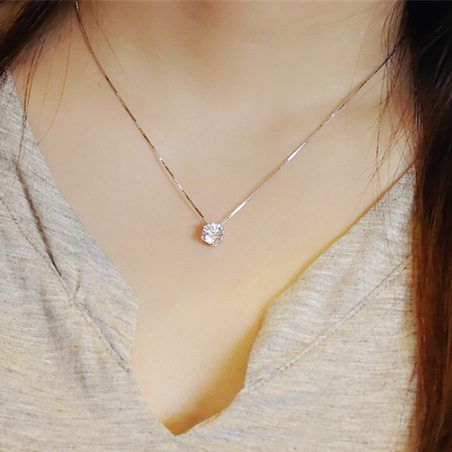 2017 vente chaude brillant cristal pendentif 925 sterling argent ladies'necklace femme à chaîne courte cadeau d'anniversaire expédition de baisse