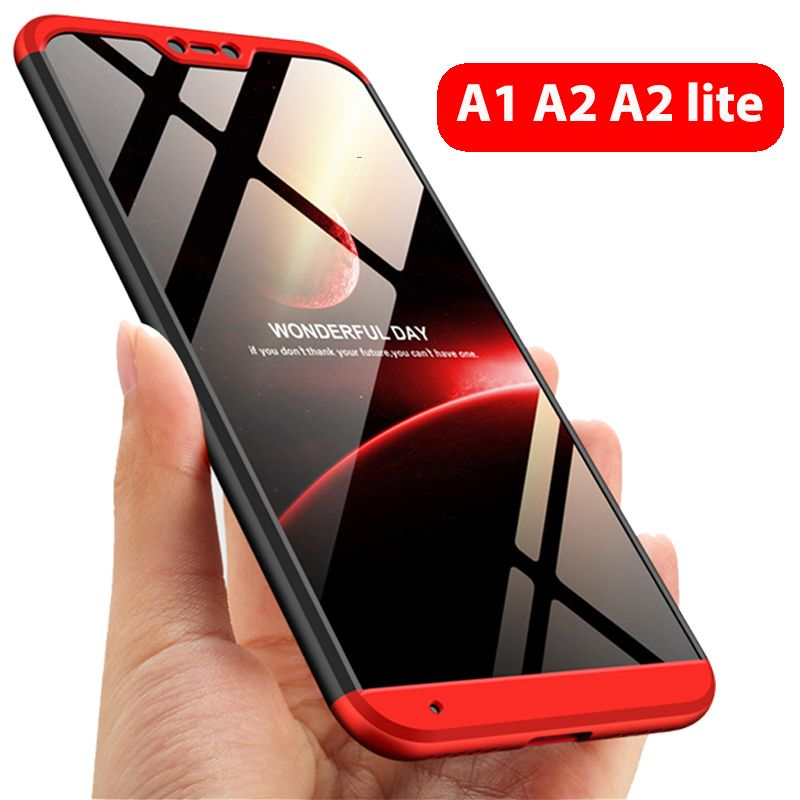 3-in-1 Protect Case 360 Xiaomi Mi A2 lite Mi A2 A1 Phone Case Hard Plastic Xiaomi Mi A1 A2 Cover Tempered Glass Case Fully Cover