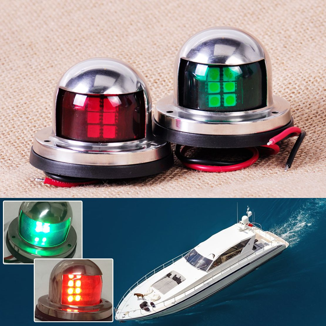 CITALL 1 <font><b>Pair</b></font> Stainless Steel 12V LED Bow Navigation Light Red Green Sailing Signal Light for Marine Boat Yacht