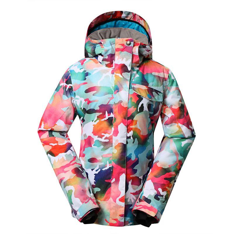 Marke GSOU SCHNEE Camouflage Winter frauen Schnee Ski Jacke Snowboard Jacke Wärme