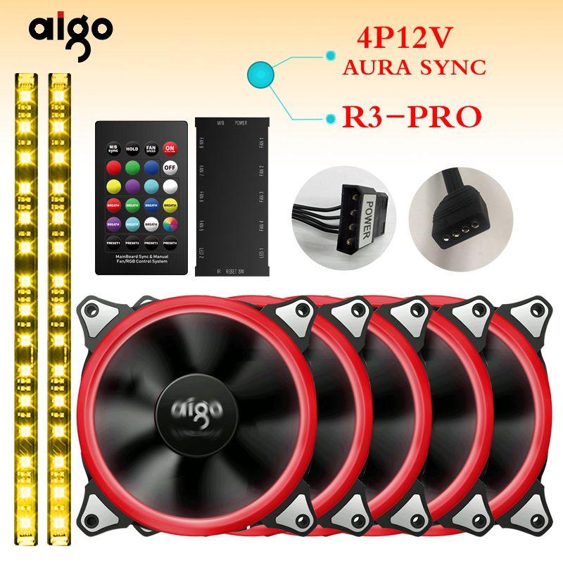 Aigo R3pro RGB Case Fan 4P-12v aura sync fans Quiet IR Remote computer Cooler Cooling fan computer desktop12cm fan
