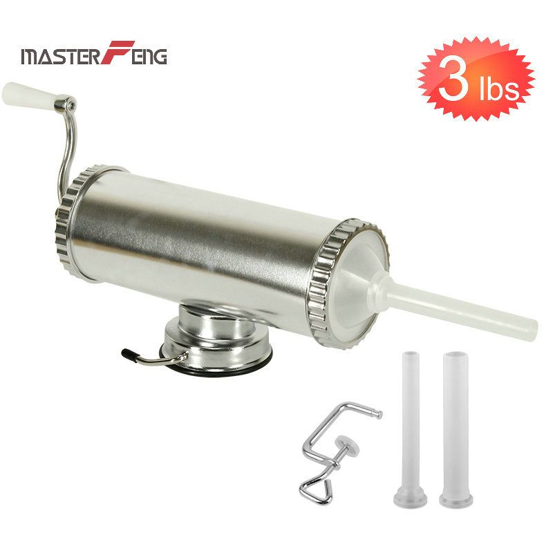 1.5KG / 3LBS Hand Operated Sausage Meat Stuffer With Suction Base Sausage Syringe