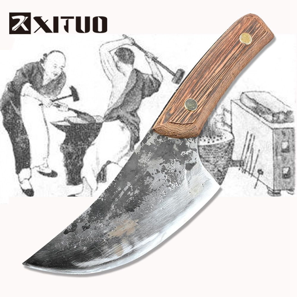 XITUO Hand Tool Butcher Knife handmade High Manganese Steel Clad Steel cutter Kitchenchef & Camping Hunting knife Chopping Knife