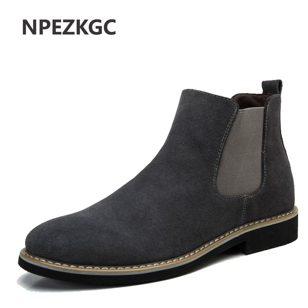 NPEZKGC sping autumn Boots Genuine Suede Leather Sewing Thread Men Ankle Boots Britain Style Shoes Leather Men Boots