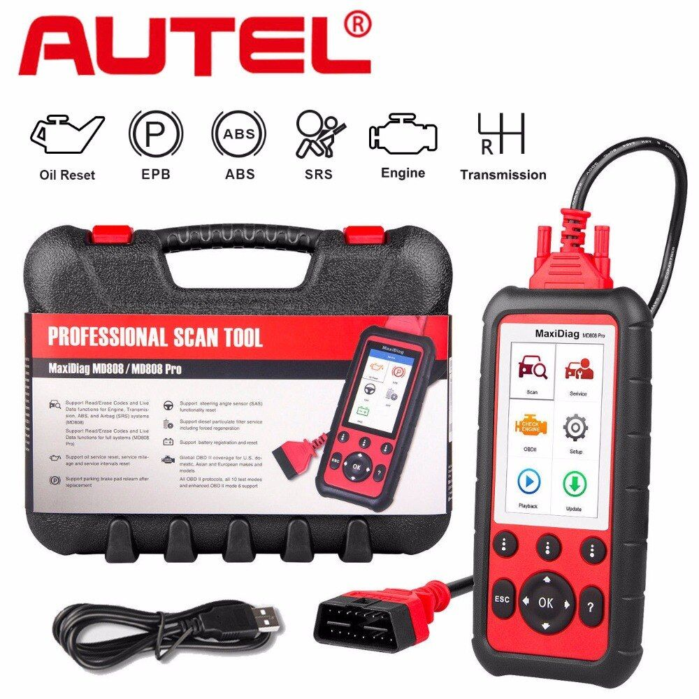 Autel MD808 Pro Auto Diagnostic Tool OBD2 Code Reader Scanner EPB ABS SRS DPF for Oil and Battery Reset Registration OBD Scanner