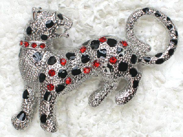 Rhinestone rojo Jaguar Pantera Pin broches C780 C