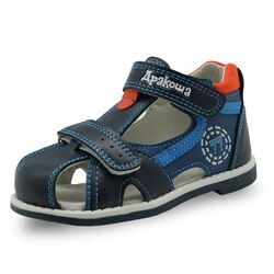 Apakowa 2017 verano niños zapatos marca cerrado dedo del pie sandalias ortopédicos deporte pu cuero niños Sandalias Zapatos