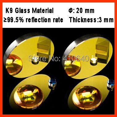Diamètre 20mm K9 CO2 laser réflexion miroir en verre matériel avec golden revêtement pour laser graveur Machine de découpe
