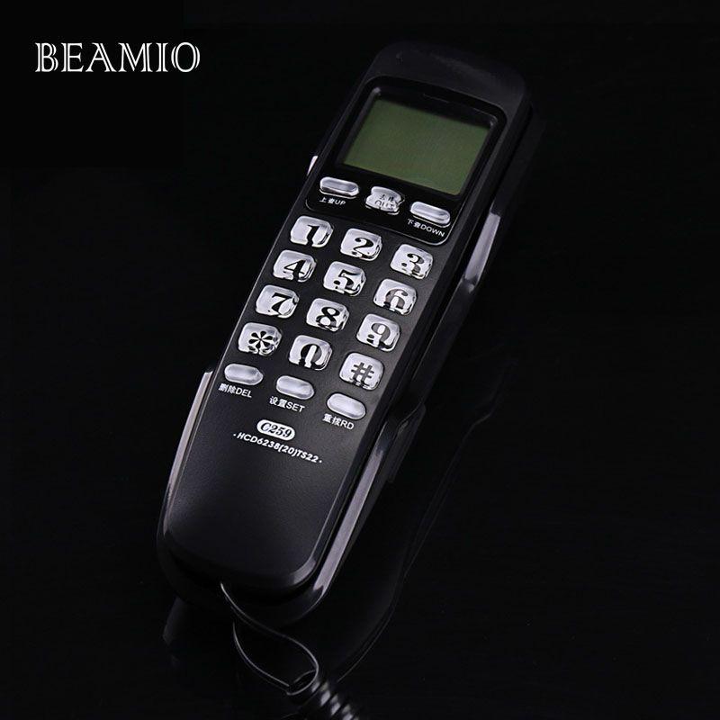 Mini Mur Fixe Téléphone Call ID Recomposition DEL Hôtel Salle De Bains Bureau D'affaires de La Maison Téléphone Fixe Mini Téléphones Petite Maison Noir
