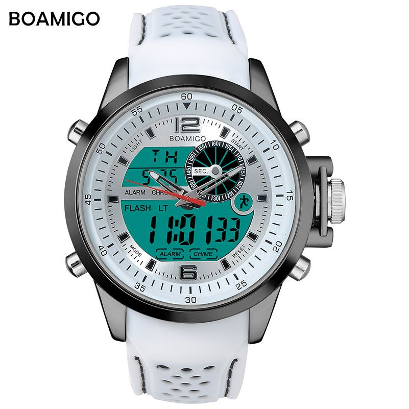 BOAMIGO Brand Men Sport Watches white color multifunction LED digital analog quartz wristwatches rubber band 30m waterproof swim