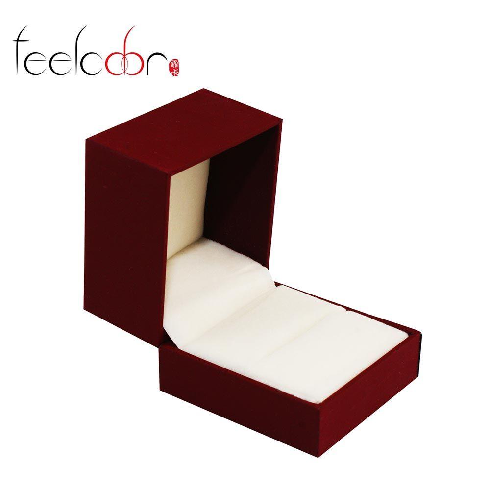 Nouvelle Arrivée Boucles D'oreilles Anneau Rouge De Noël Boîte 5.2*4.5*3.6 cm PU Emballage De Mariage De Mode Bijoux Affichage Cadeau boîte En Gros