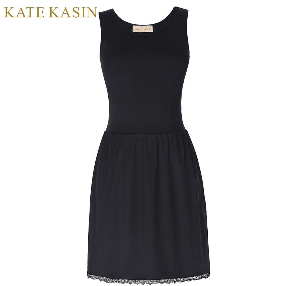 Kate Kasin New Arrivals Women Sexy Full Slips Fitness Long Under Dress Solid Underskirt For Girl Lady Inner Petticoat Dressing
