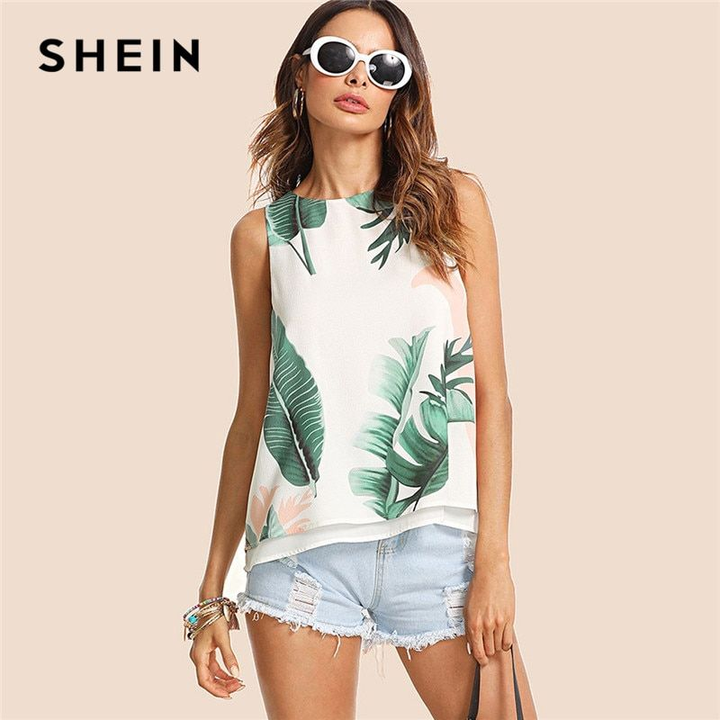 SHEIN Böhmischen Urlaub Multicolor Frauen Tank Top Streetwear Tropical Print High Low Rundhals Boho 2018 Sommer Top