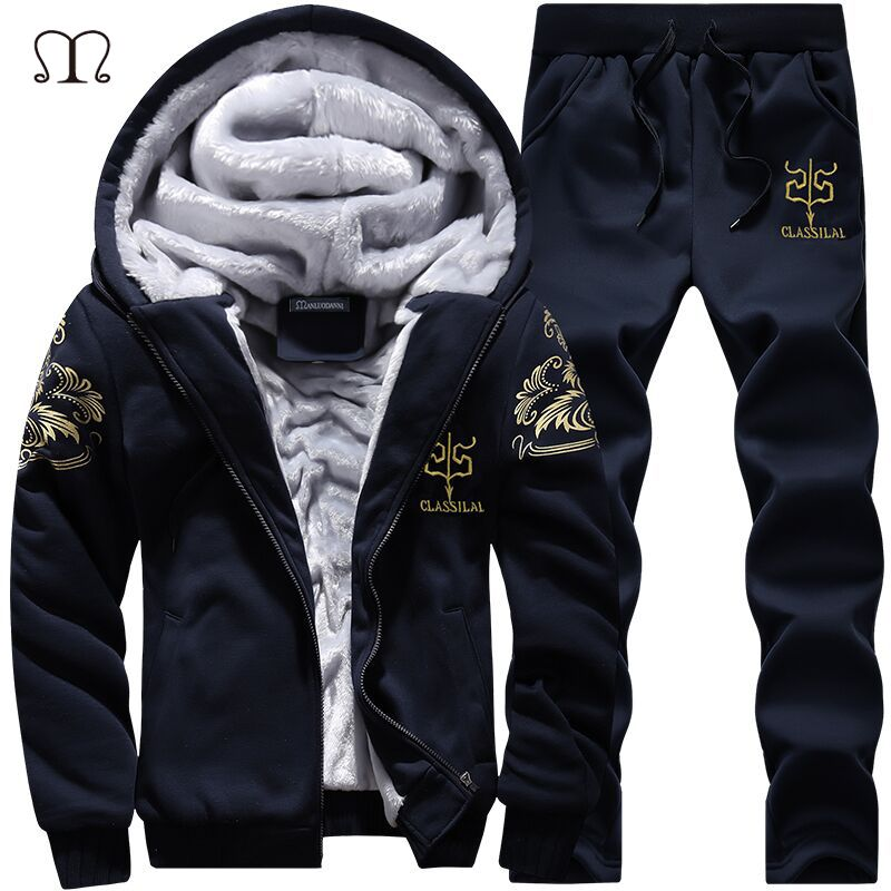 Winter Sportswear Sets Warm Men's Hooded Tracksuits Set Casual Brand Leisure Solid <font><b>Suit</b></font> 2017 Outwear 2 Pieces Sporting Sets 4XL