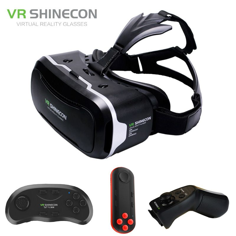 VR Shinecon 2.0 3D Glasses Virtual Reality Smartphone Headset Google Cardboard VR BOX Helmet for Iphone Android 4.7-6' Phone