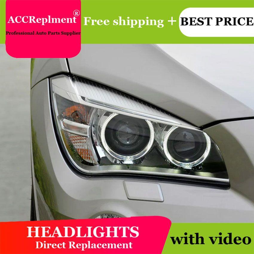 Auto styling Für BMW X1 scheinwerfer angel eyes 2011-2015 Für BMW X1 LED licht bar Q5 bi xenon objektiv h7 xenon tag licht