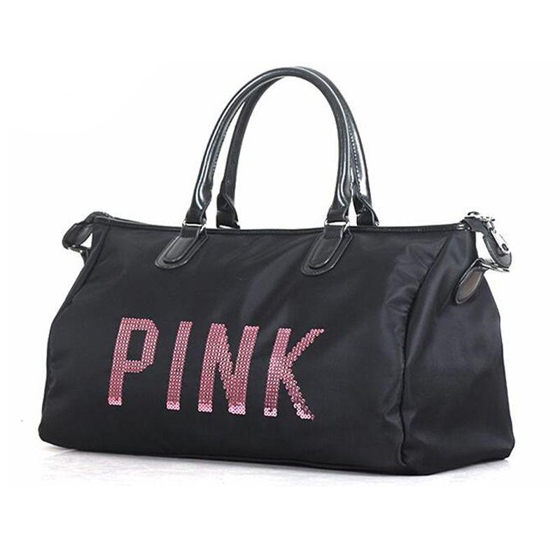 Newest Design Sequins PINK letters Gym Fitness Sports Bag Shoulder Crossbody Bag Women Tote Handbag Travel Duffel Bolsa Y8APIN30