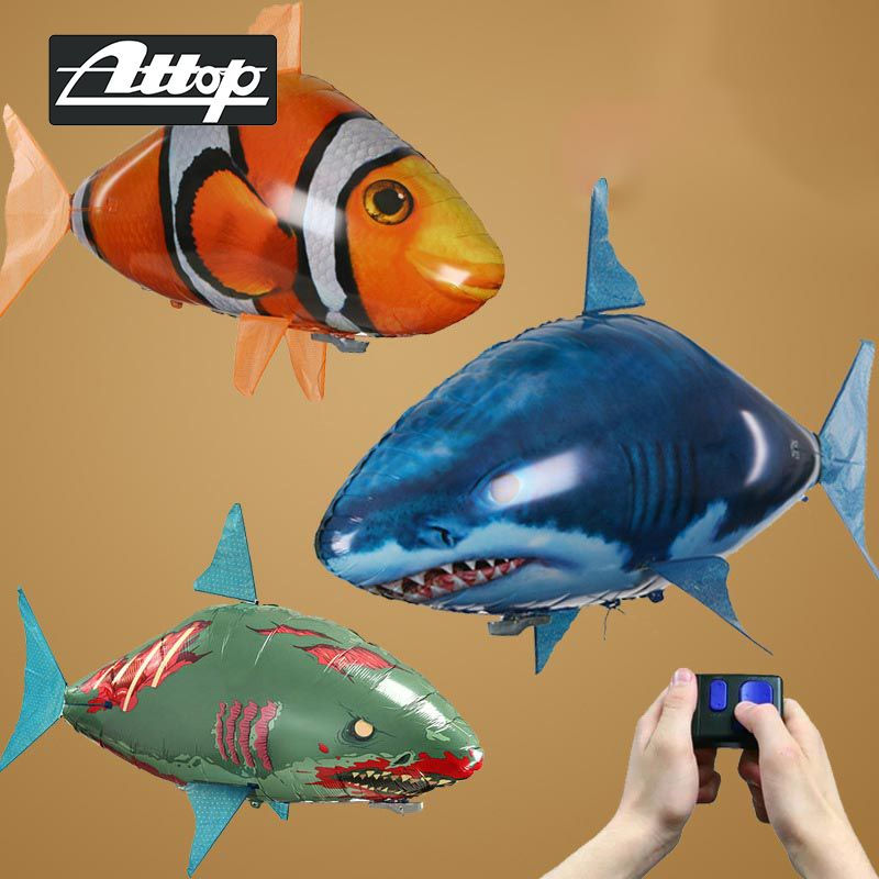 ATTOP Shark Toy Remote Control Drone Fish Flying Clown Nemo Fishes Balloons Radio-Controlled Animal Toys Drone Best Kid Toy Gift