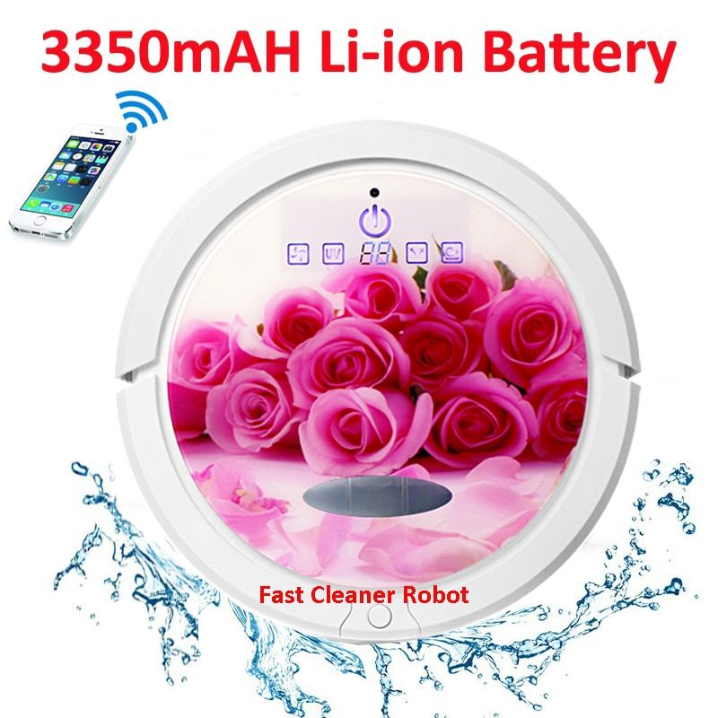 Rose Colour WIFI Smartphone App Control Newest Coming Wet And Dry Robotic Vacuum Cleaner For Home QQ6 With Water Tank