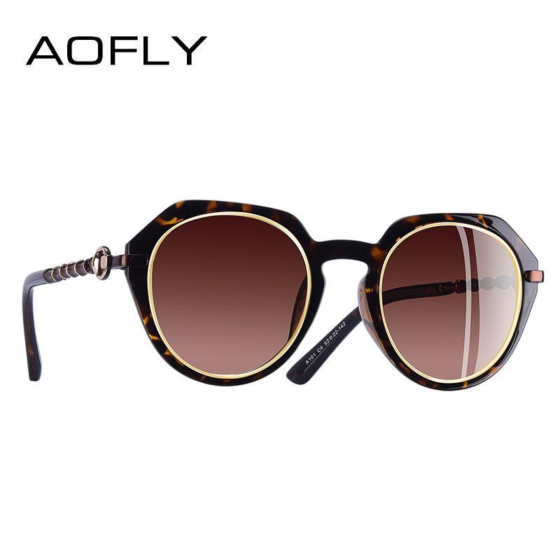 Aofly marca de diseño polarizado Gafas de sol mujeres ronda Classic lente Sol Gafas para mujer gafas UV400 a101
