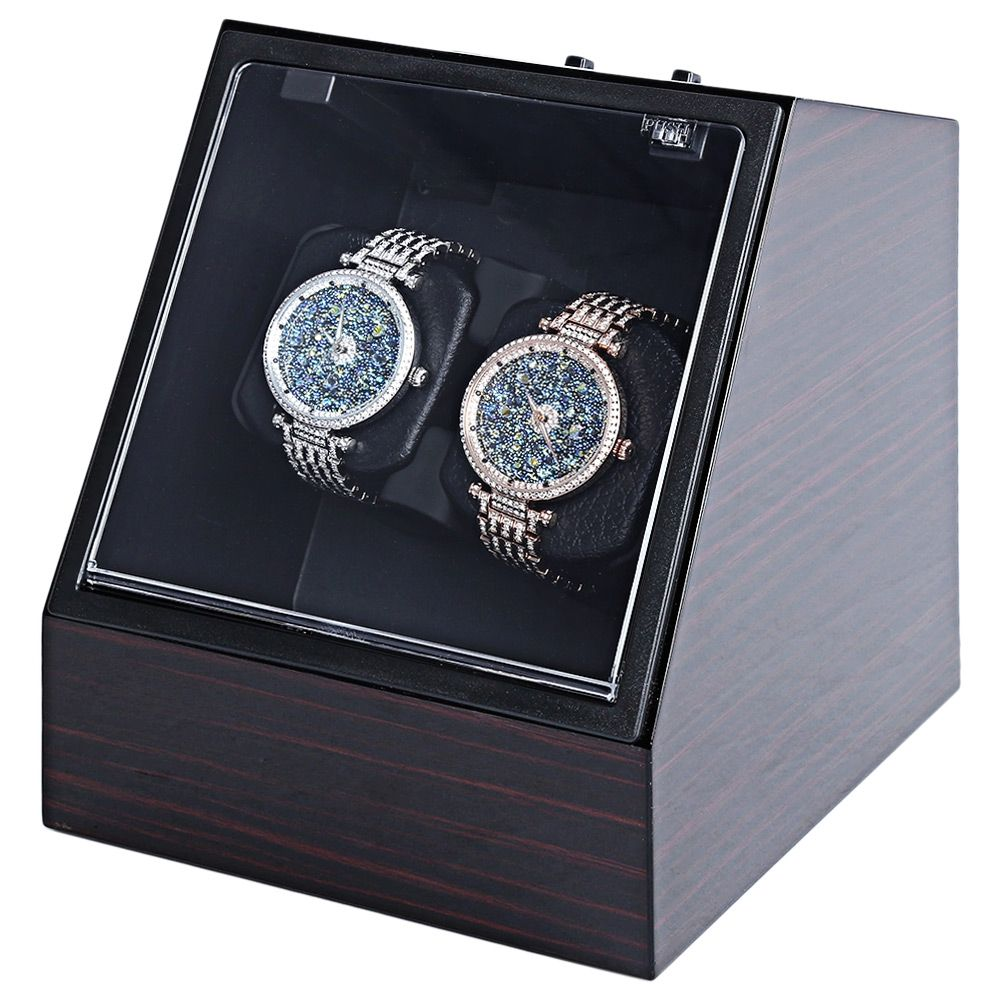 Wooden Auto Silent Watch Winder Irregular Shape Transparent Cover Wristwatch Box with EU Plug