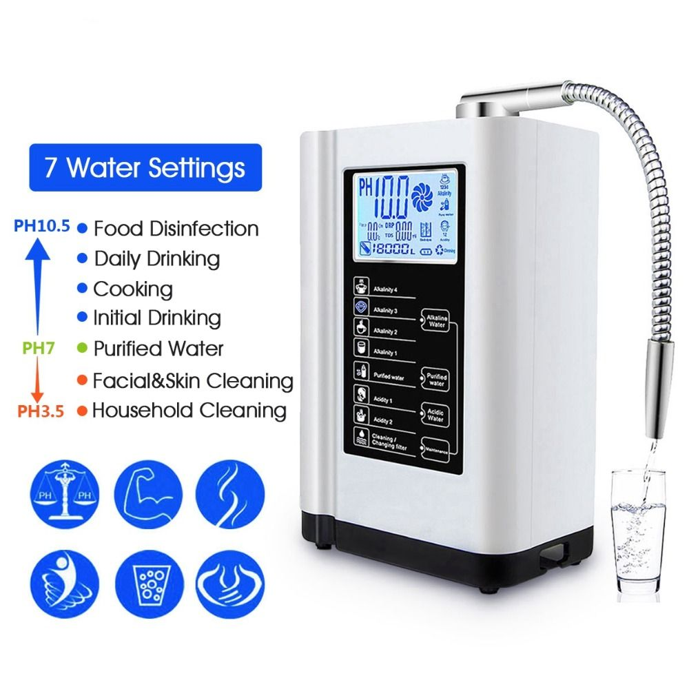 PH3.5-10.5 7 Water Settings 6000 Liters Water Ionizer&Purifier Touch Control Alkaline Acid Machine Auto-Cleaning Water Treatment