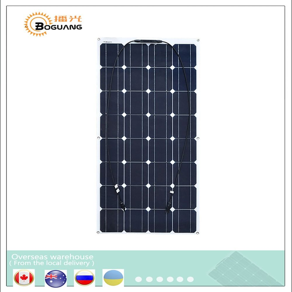 Boguang Flexible Mono PV 16V 100W Solar Panel plate CELLS Monocrystalline silicon Photovoltaic Panels 100 watt 12V battery china