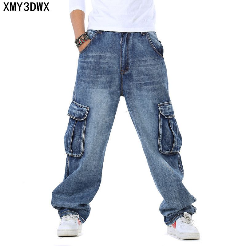 2017 Men's fattening increase jeans more pockets loose loose fat young people washed wear-resistant hip-hop pants Size; 46 44