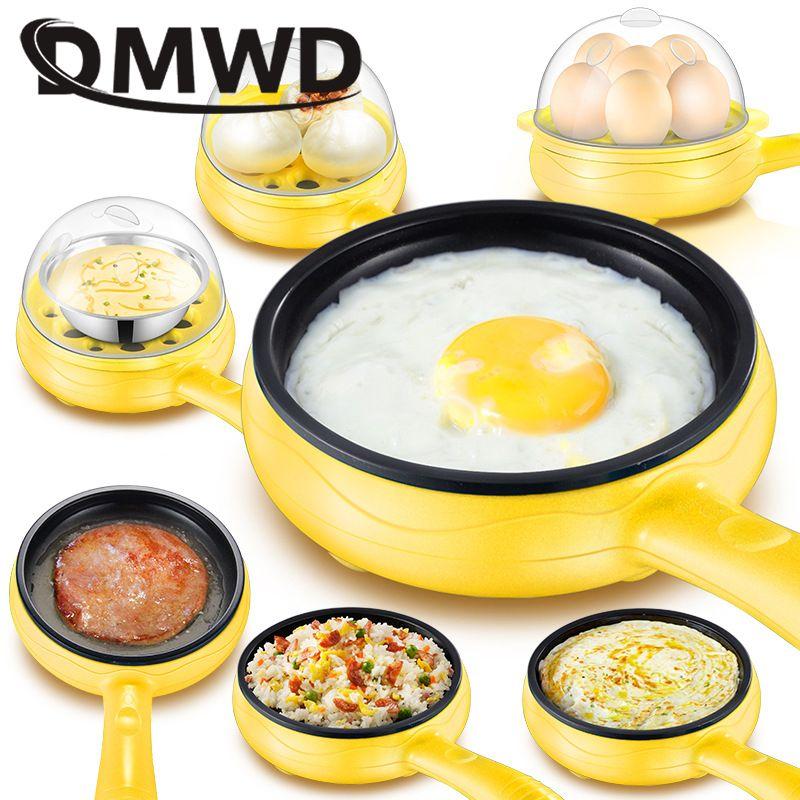 DMWD Multifonction Mini Électrique omelette Cuiseur À Oeufs Chaudière cuiseur à vapeur Crêpe Frit Steak Non-stick poêle à frire 110 V 220 V
