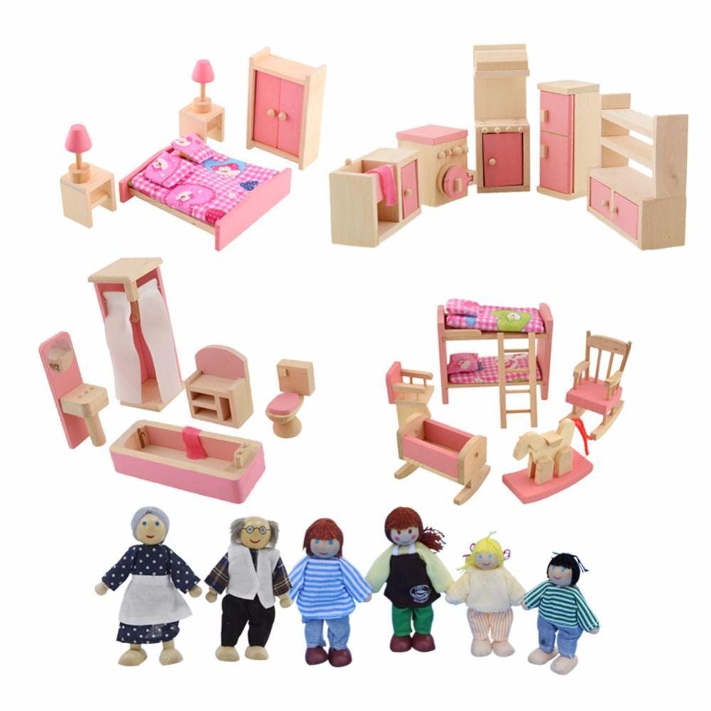 Casa de muñecas Muebles Cama Doble con Almohadas y Mantas De Muñecas De Madera Muebles de Baño Dollhouse Miniatura Niños Niño Juguete