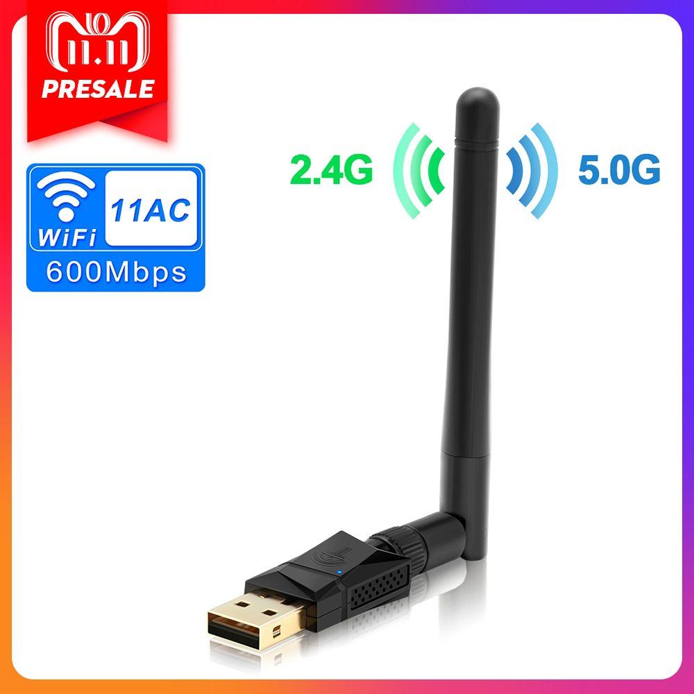 Rocketek 600 Mbps Double Bande Sans Fil USB wifi Dongle Adaptateur, avec 802.11N/G/B Antenne Réseau Wireless Lan Carte 802.11a/g/n/ac