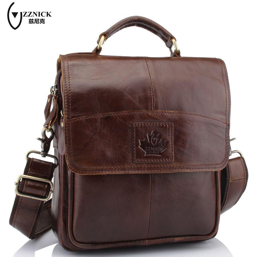 ZZNICK 2017 New Vintage Cow Leather Bags For Men Genuine Leather Messenger Bag Men's Bag Shoulder Bags iPad Holder ZK6903