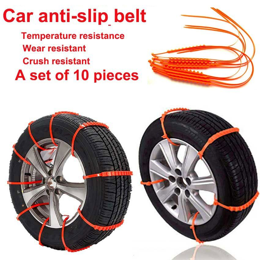 Snow Chains Spikes For Car Tires For Winter Tire Spikes Roadway Safety Traction Wheels Car Snow Tyres Nylon Anti-skid Strap