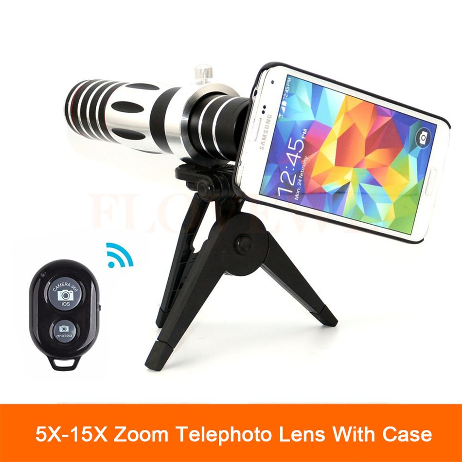 2017 HD 5X-15X Zoom Lens Telescope Telephoto Lenses with Mobile Tripod For Samsung galaxy S5 S6 S7 S7 S8 edge Note 4 5 6 7 Case