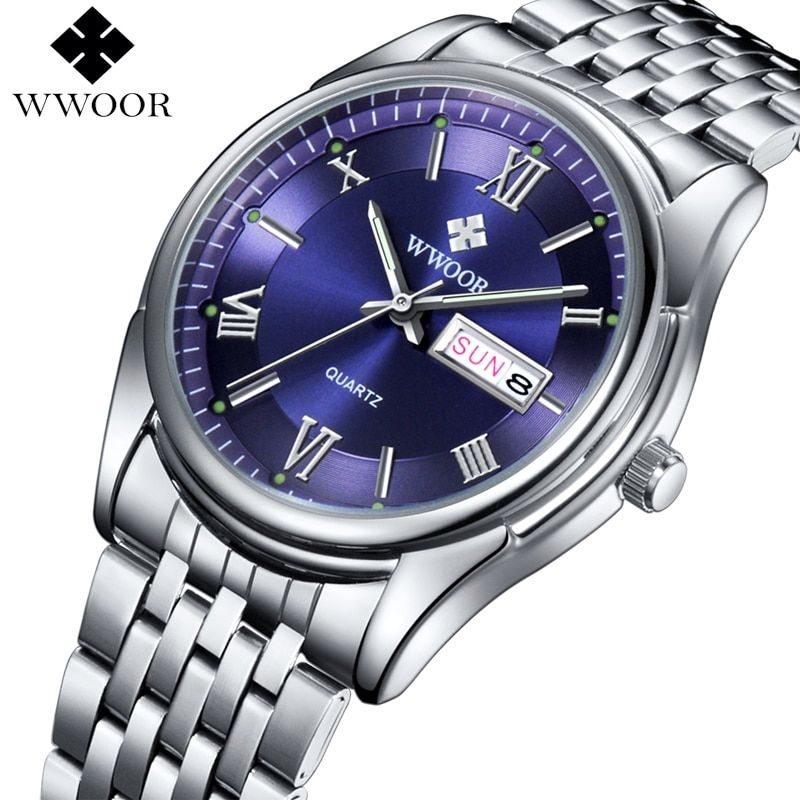 Men Watches Top Brand Luxury Day Date Luminous <font><b>Hours</b></font> Clock Male Silver Stainless Steel Casual Quartz Watch Men Sports Wristwatch