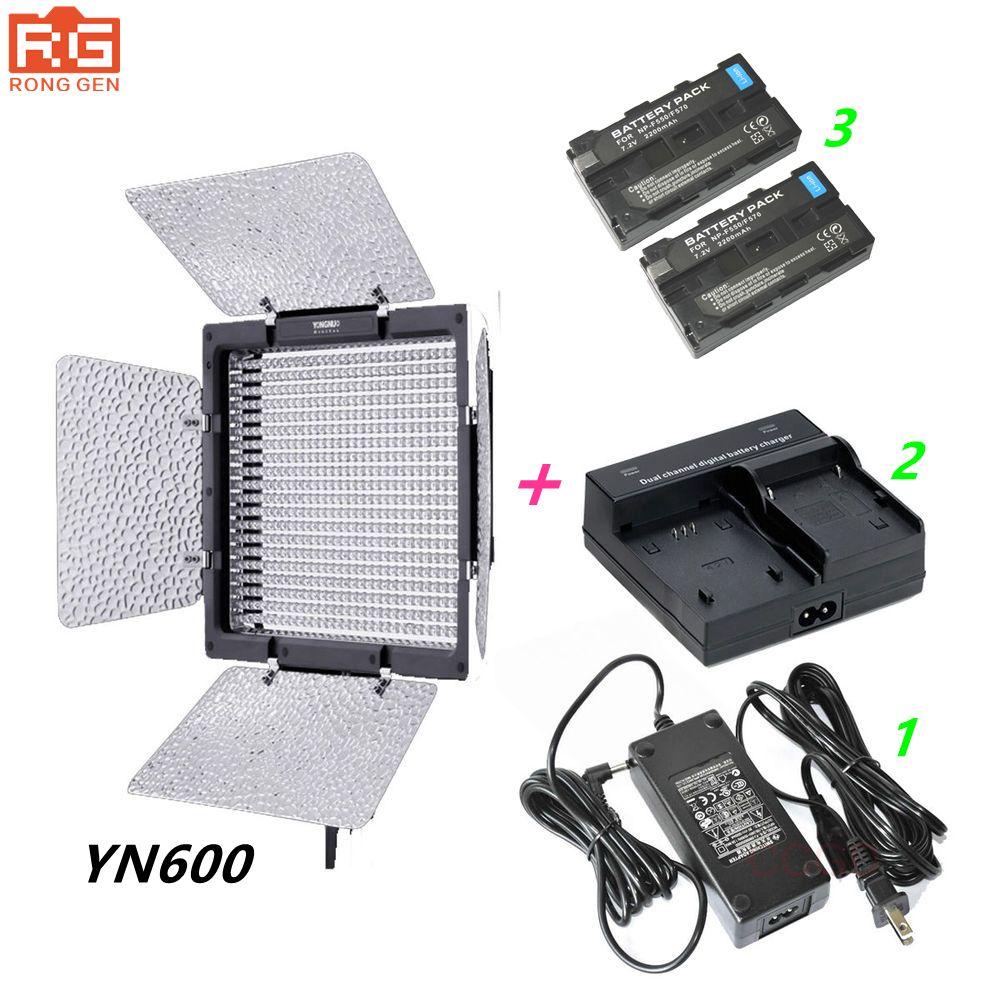 YONGNUO YN600 Yongnuo YN-600 3200-5500k LED Video Light + AC Adapter + 2 * NP-F550 + Charger