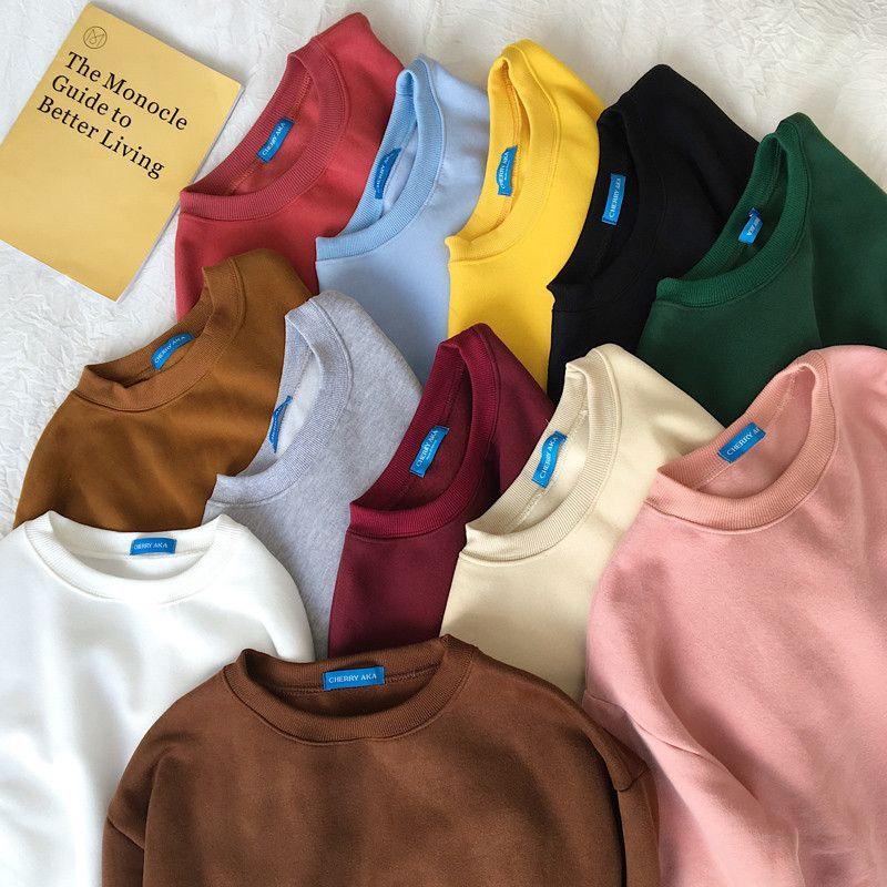 Sudaderas Mujer 2019 Harajuku solide sweat femmes à manches longues à capuche lâche sweat à capuche pour femme Sweatshirts survêtement de sport