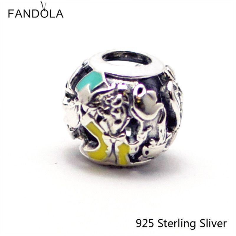 Fits Pandora Jewelry Bracelets 100% 925 Sterling Silver Beads Alice's Tea Party Openwork Original Fashion Charms CKK