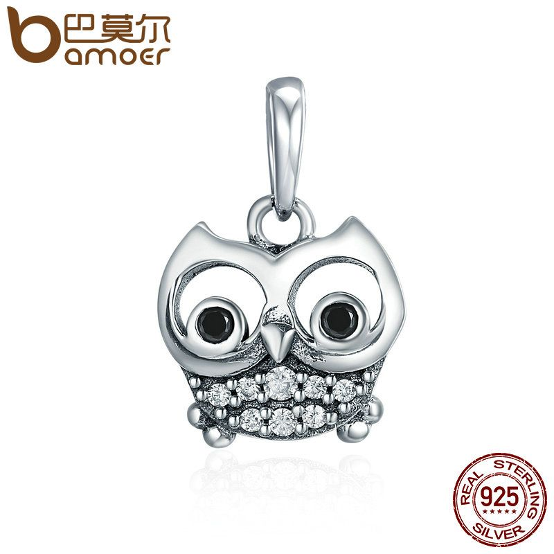 BAMOER Hot Sale 925 Sterling Silver Lovely Animal Owl Pendant Charms fit Women Charm Bracelets & Necklaces DIY jewelry SCC341