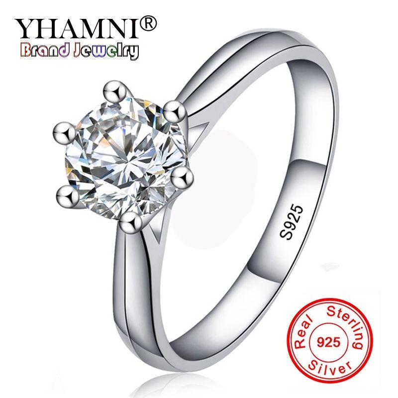 Geld verlieren 99% OFF! Feine Schmuck Original Natürliche 925 Silber Ringe Solitaire 6mm 1ct Sona CZ Stein Hochzeit Ringe Für Frauen RL003
