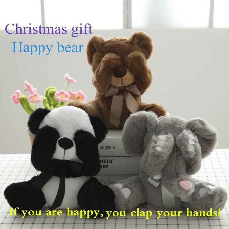 New Peek A Boo Animals Toy, Stuffed Animals & Plush Toy Bear / Panda /Elephant, Singing Baby Music Toys For Christmas Gift
