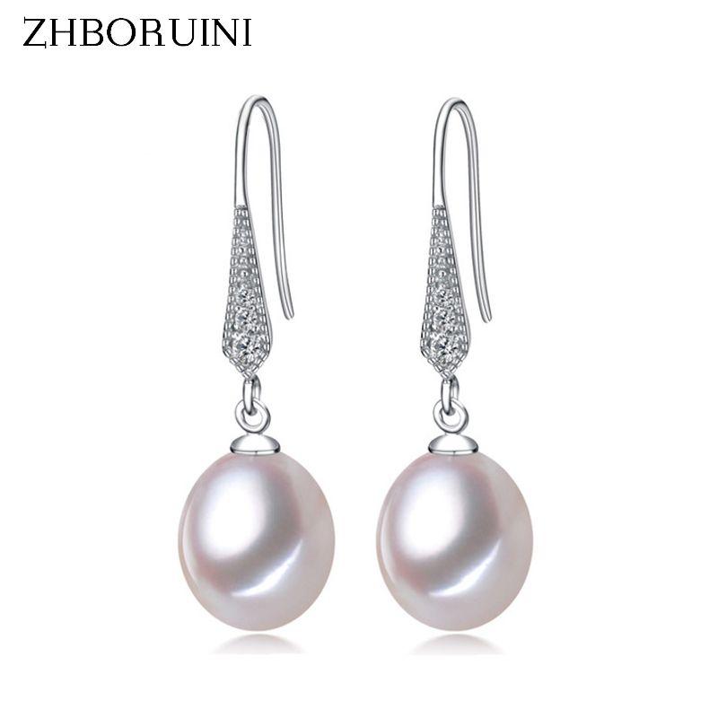 ZHBORUINI 2017 Fashion Pearl Earrings Natural Freshwater Pearl Jewelry Dorp Earring 925 Sterling Silver Jewelry For Women Gift