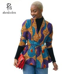 2017 Autumn African Dress for Women Long Sleeve Jacket Ankara Print Fall Coat Cardigan Wite Tie Plus Size Lady Clothes Cardigan