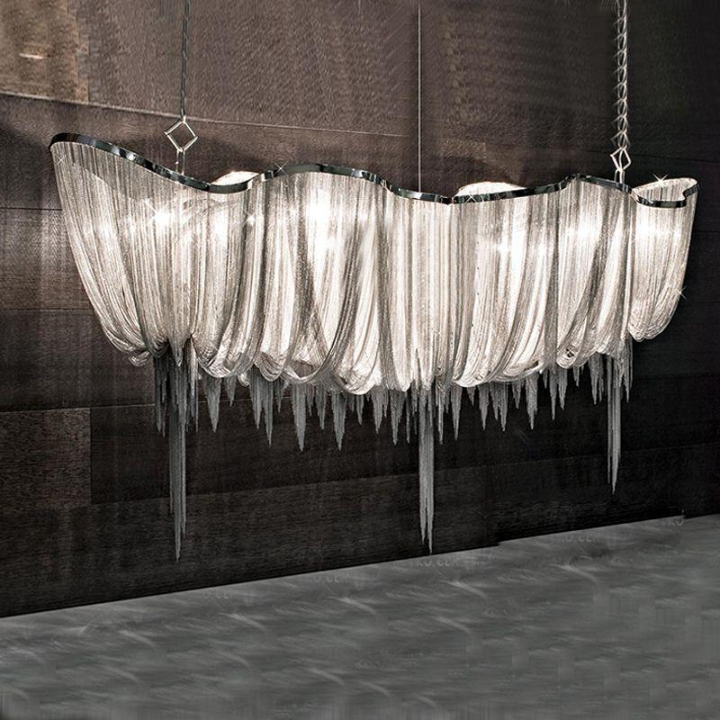 Silbrig/gold aluminium kette kronleuchter licht moderne villa projekt licht 110 V/220 V