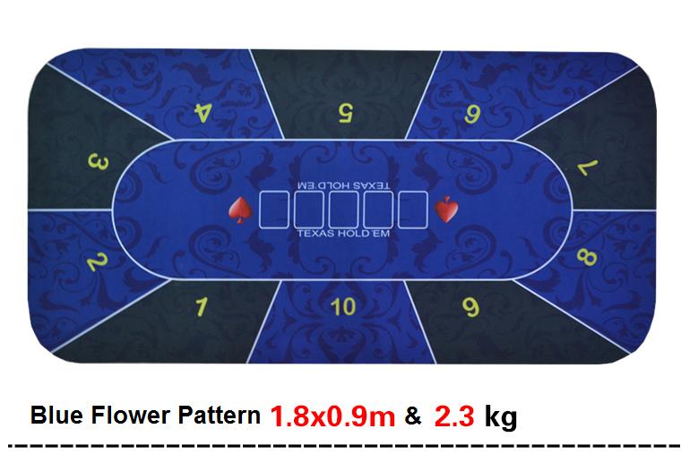 Texas Hold'em Poker Mat 1.8*0.9m flower pattern rubber gaming pad