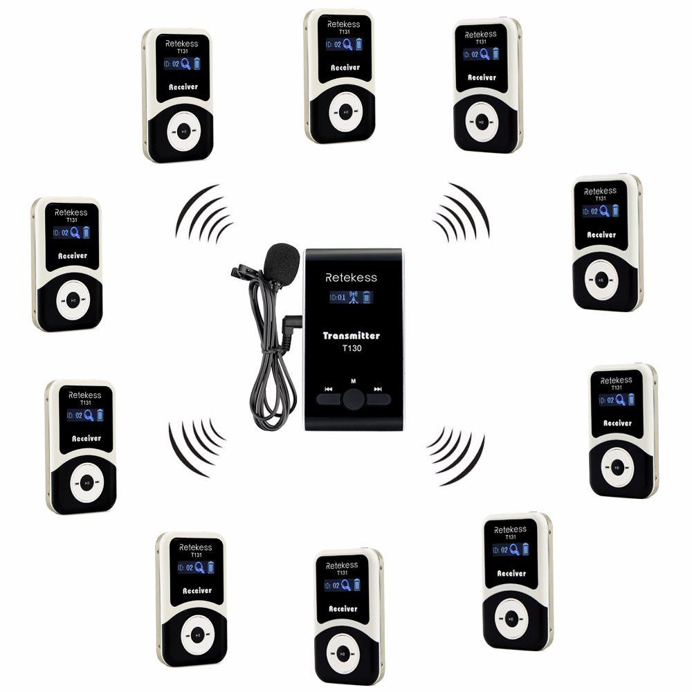 Retekess Wireless Tour Guide System 1 Sender + 10 Empfänger + Mic für Tour Führung Gleichzeitige Übersetzung Interpretation F4508
